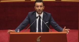 Deputeti i PS Erion Brace, duke folur gjate nje seance parlamentare, ku maxhoranca dhe opozita kane debatuar ne lidhje me situaten politike ne vend.