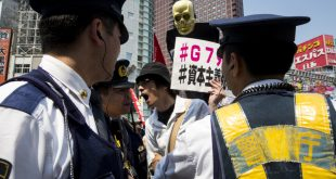 TOKYO, JAPAN - MAY 22 :  Anti-G7 protesters march through the streets of Shinjuku during a demonstration in Tokyo on May 22, 2016. Ahead of the G7 summit that will be held on May 26 and 27 in Ise-Shima, Japan.  Photo: Richard Atrero de Guzman