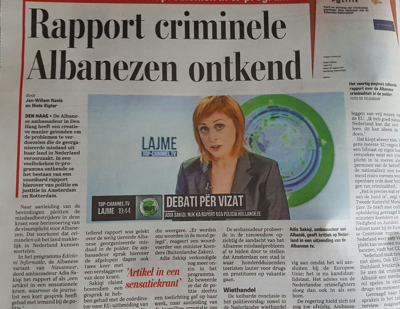 Gazeta holandeze: Ambasadorja shqiptare flet marrëzira!