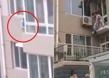 Fëmija gati për të rënë nga kati i pestë, akti heroik i ushtarit [VIDEO]