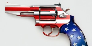 Stars and stripes on gun