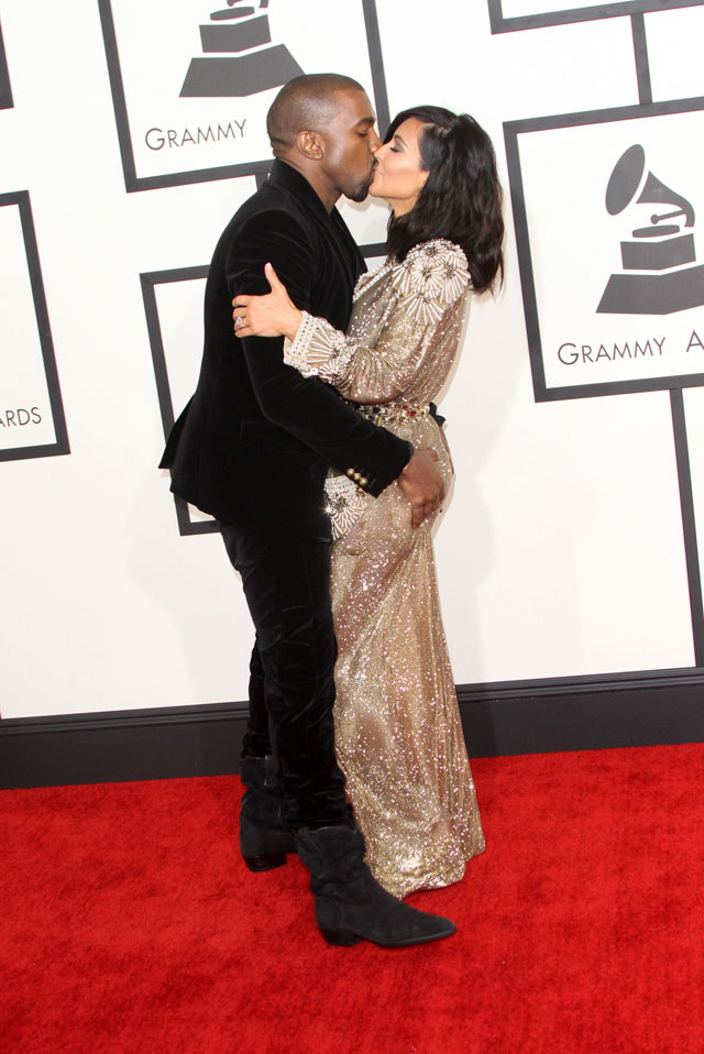 57th Annual GRAMMY Awards held at the Staples Center - Red Carpet Arrivals  Featuring: Kim Kardashian, Kanye West Where: Los Angeles, California, United States When: 08 Feb 2015 Credit: Adriana M. Barraza/WENN.com