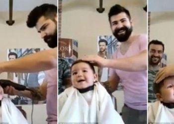 Vogëlushi pret flokët për herë të parë, reagimi i tij ka bërë të gjithë për vete (VIDEO)
