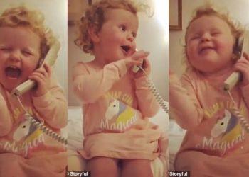 Bëhet hit në internet, 3-vjeçarja e cila flet në telefon me 'shoqen imagjinare' (VIDEO)