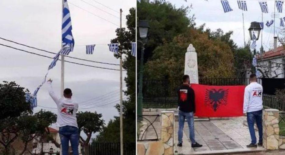 Shqiptarët në Greqi ulin flamurin grek dhe ngrenë atë shqiptar (FOTO)