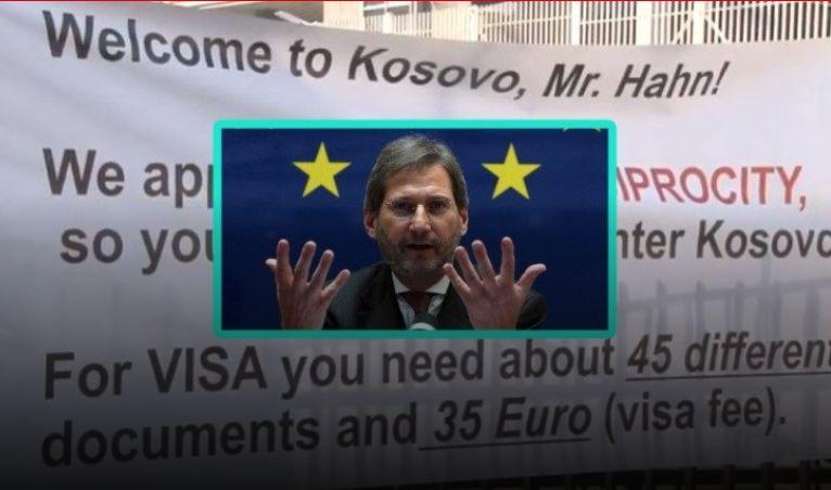 Hahn në Kosovë. qytetarët i 'vendosin vizë' hyrjeje, i kushton 75 euro