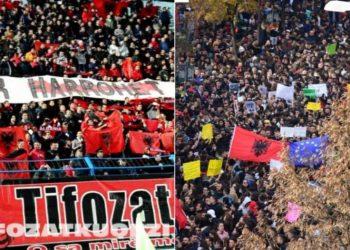 Tifozët kuqezi i bashkohen protestës së studentëve (FOTO)