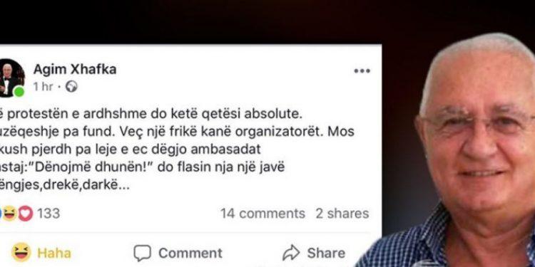 Koment epik nga Agim Xhafka: Mos pirdhni në proteste, ec e dëgjo ambasadat pastaj