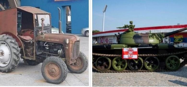 Tifozët kroatë i përgjigjen tankut të tifozëve serbë me një traktor Ferguson