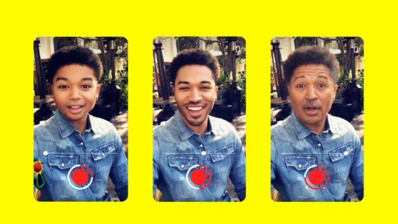 """Snapchat lanson """"makinën e kohës"""", shndërron fytyrën që të duket si e fëmijës apo sikur të jetë plakur në moshë (FOTO)"""