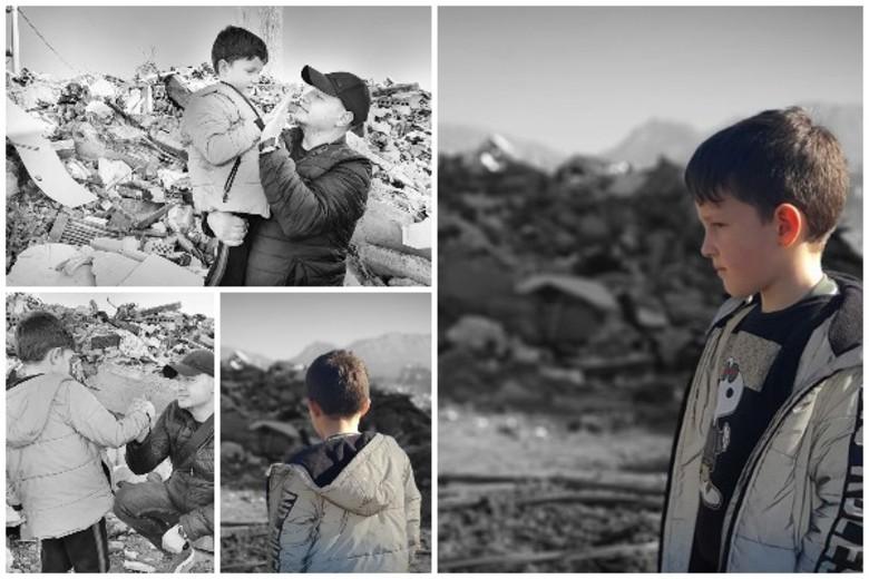 Mbetën vetëm kujtimet! Shkoi në Thumanë për të parë rrënojat, vogëlushi i bën kërkesën prekëse gazetarit (FOTO)