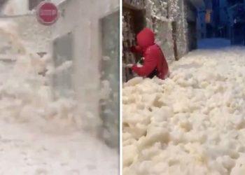 Shkuma e dallgëve të detit mbulon qytetin pas stuhitsë në Spanjë