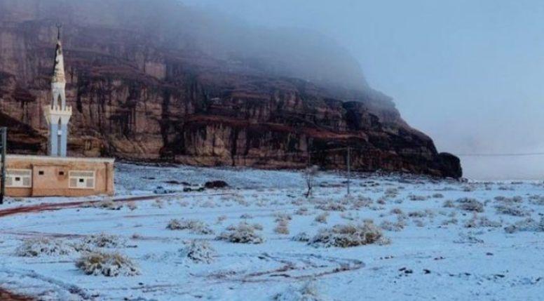 Shkretëtira e Arabisë Saudite mbulohet nga bora (VIDEO)