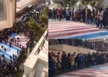Moment i pabesueshëm: Studentët iranianë nuk pranojnë të shkelin flamujt e SHBA-së dhe Izraelit (VIDEO)